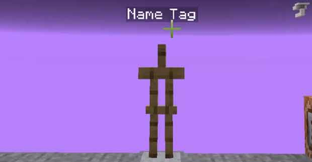 Armor stand with a name tag in Minecraft