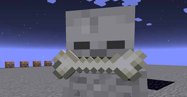 Minecraft skeleton holding a bone in its mouth