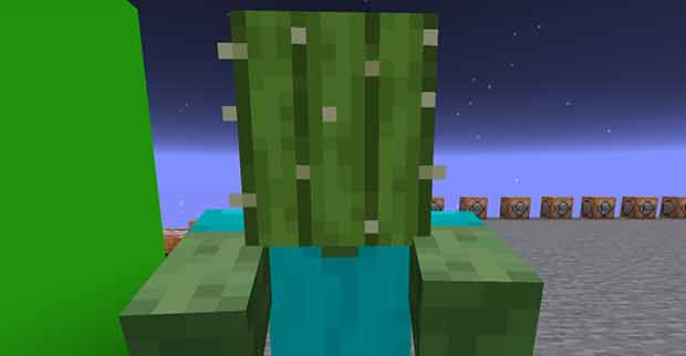 Zombie with a cactus on its head in Minecraft